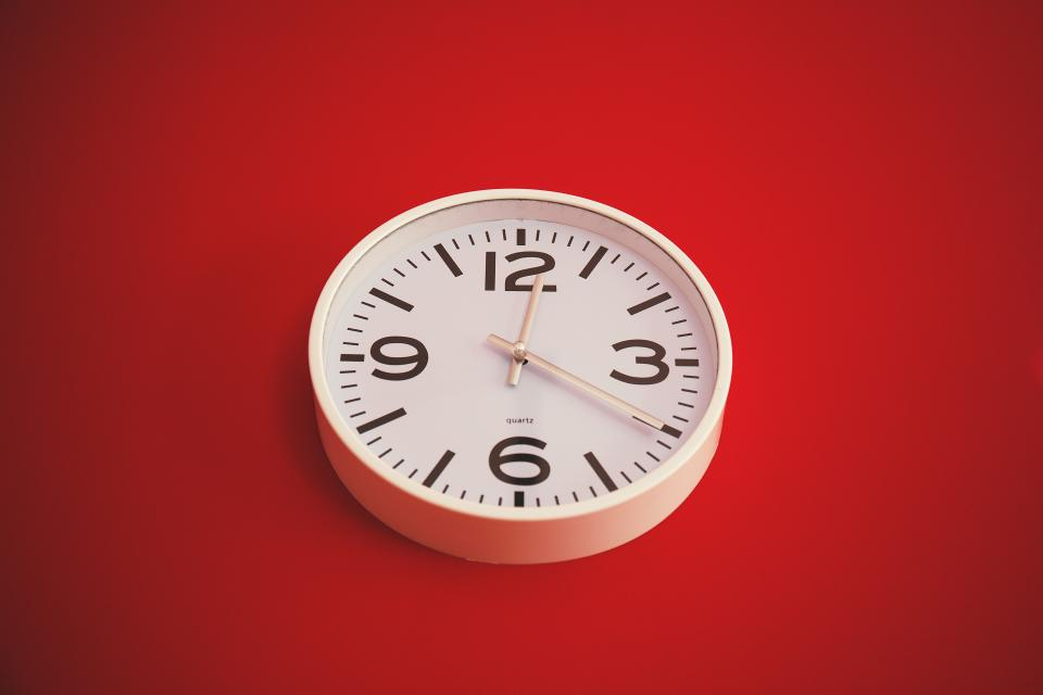 clock, time, numbers, red, wall
