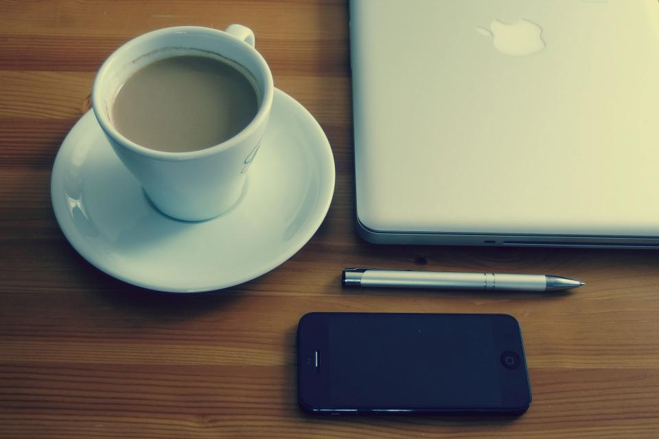 iphone, mobile, macbook, laptop, computer, technology, business, creative, desk, pen, espresso, coffee