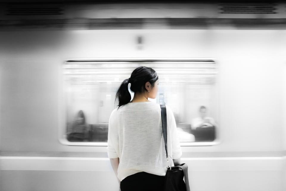 subway, metro, station, transportation, girl, woman, people, ponytail