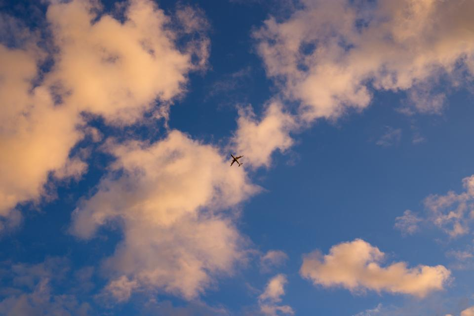 blue, clouds, sky, airplane, travel