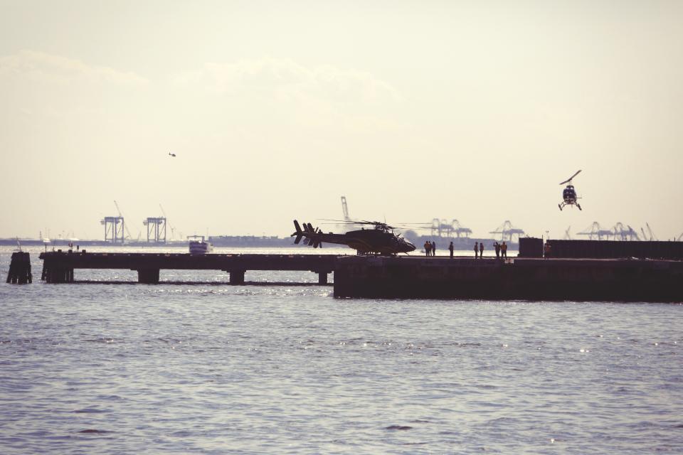 helicopters, helipad, dock, pier, water, sky