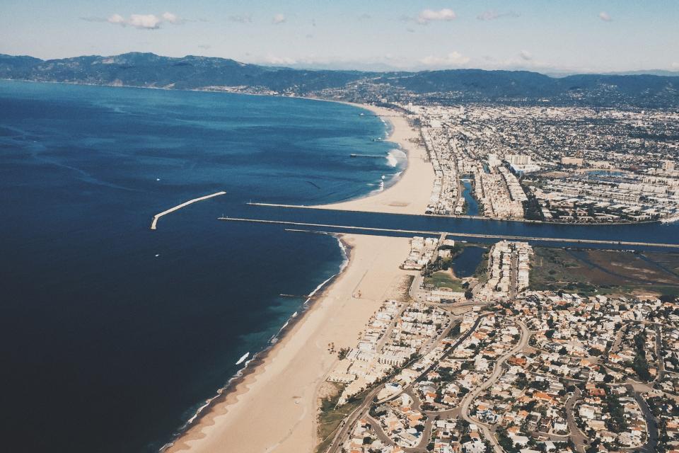 Marina Del Rey, California, aerial, view, beach, sand, shore, coast, ocean, sea, water, city, houses