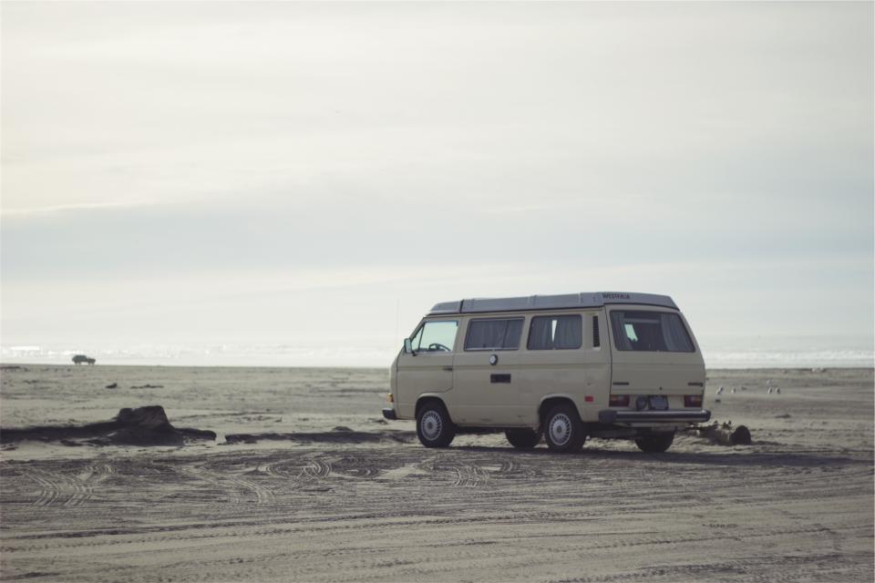 hippy van, beach, sand
