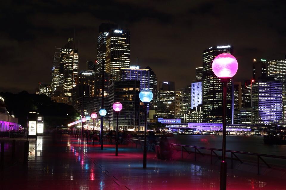 lamp posts, street, lights, buildings, architecture, city, urban, night, dark