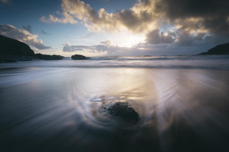 ocean, sea, lake, water, rocks, sunshine, clouds, landscape, nature