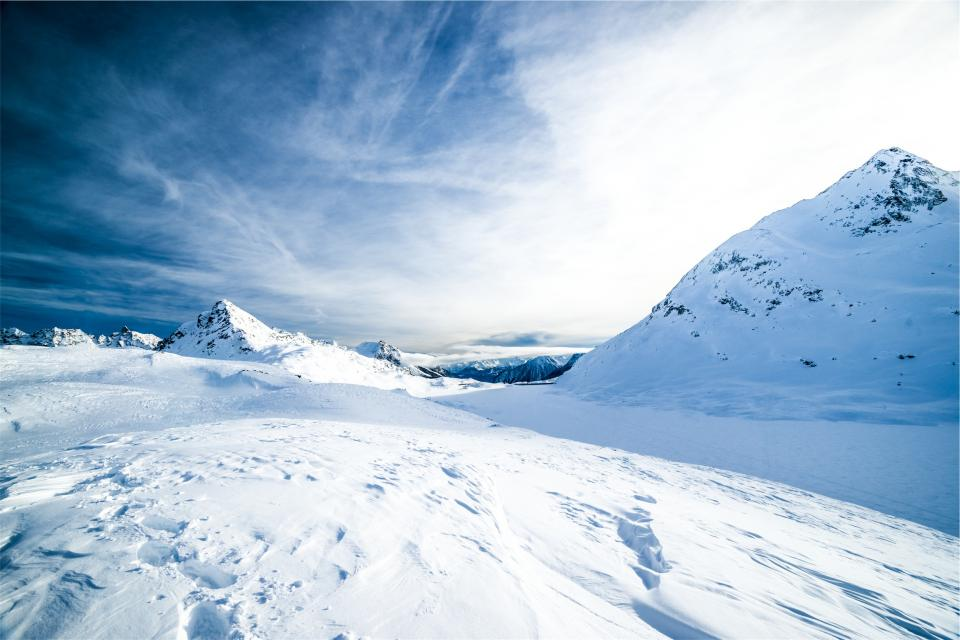 winter, snow, mountains, sky, clouds