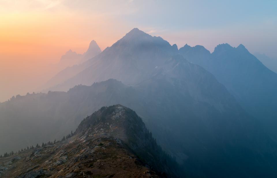mountains, peaks, cliffs, nature, landscape, sunset, dusk, sky, outdoors