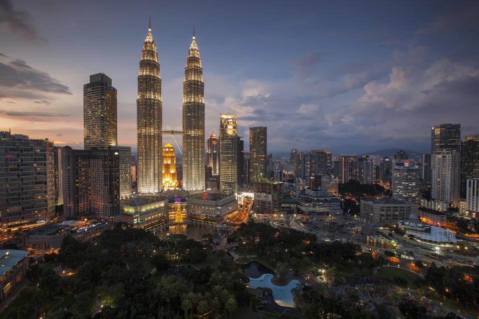 city, landscape, cityscape, buildings, night, lights, architecture, metro, high rise, downtown, urban, skyline, clouds, water, petronas, twin, towers, kuala lumpur, malaysia