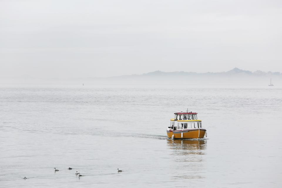taxi, boat, ocean, sea, lake, water, cloudy, sky, grey, landscape, nature
