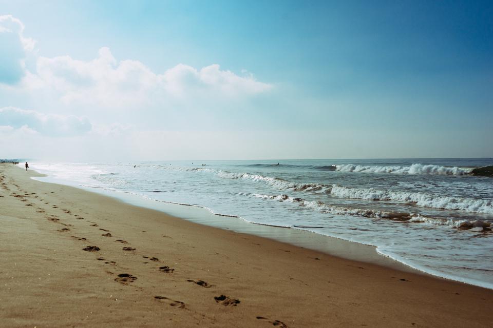 beach, sand, footprints, shore, waves, ocean, sea, blue, sky