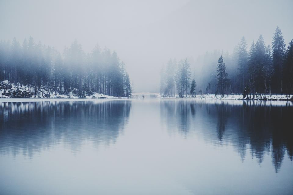 lake, river, water, reflection, outdoors, landscape, nature, trees, forest, fog, foggy