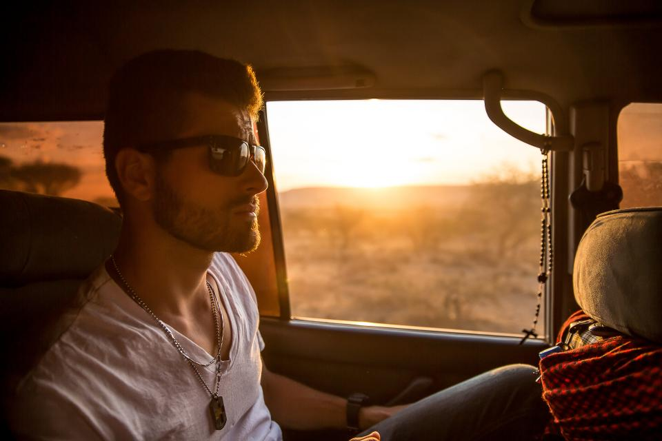 guy, face, sunglasses, beard, fashion, people, jeep, vehicle, sunset, people, car
