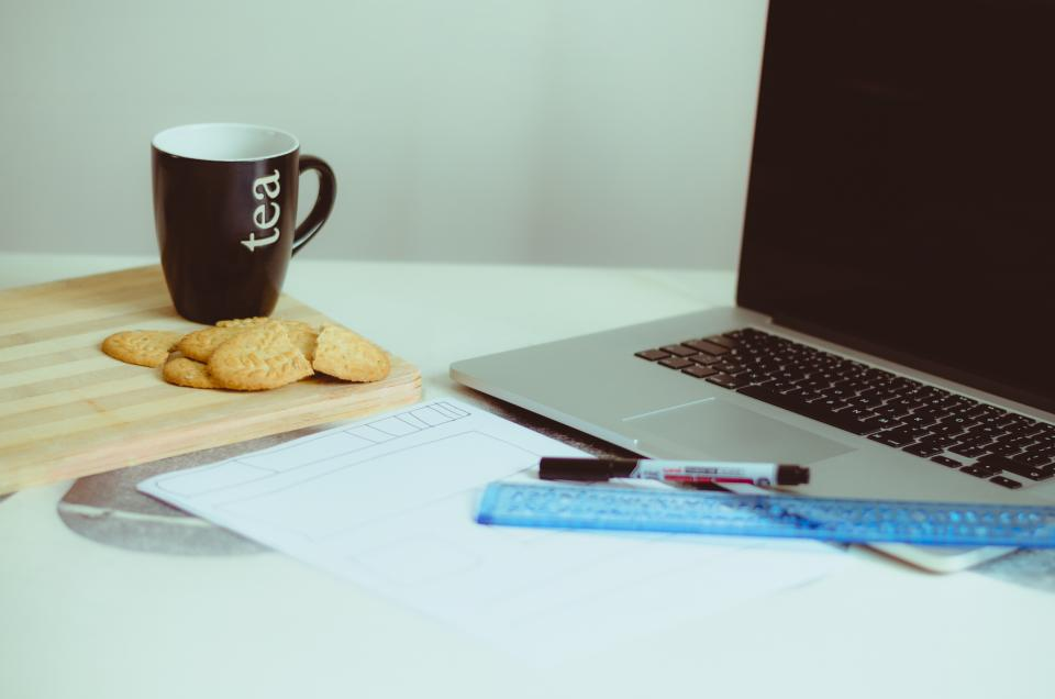 macbook, laptop, computer, technology, office, desk, working, creative, ruler, pen, cookies, tea, cup, mug, business