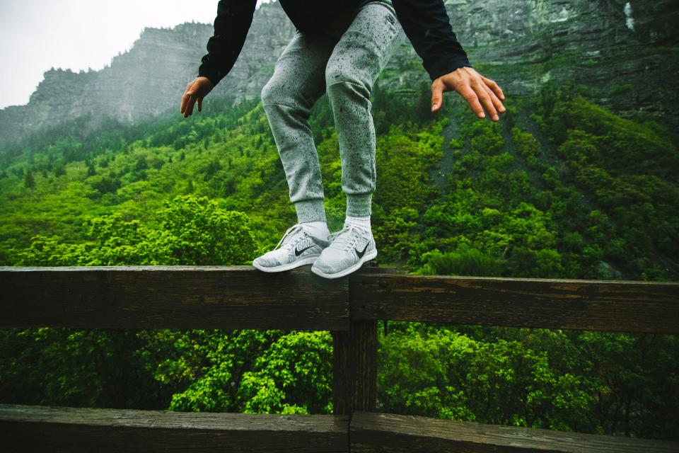 shoes, sneakers, fence, people, guy, man, lifestyle, green, mountains, nature, outdoors