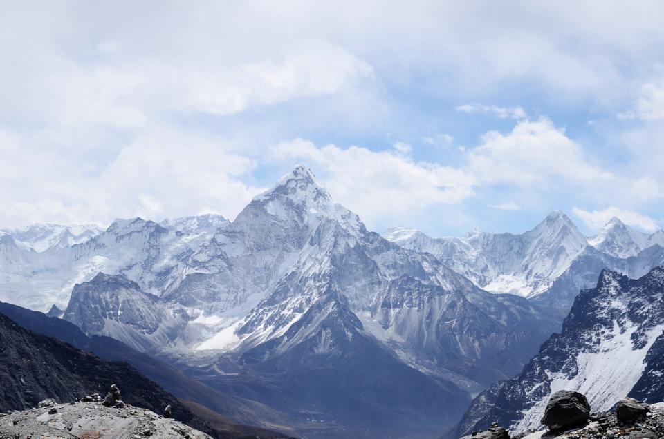 mountains, peaks, summit, nature, landscape, cliffs, sky, clouds, adventure