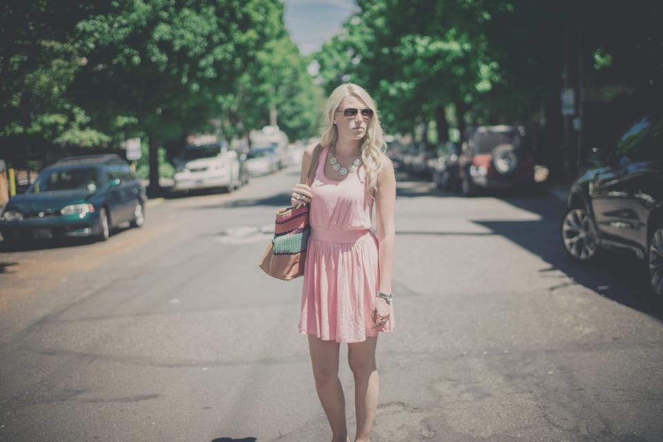 girl, woman, blonde, long hair, pink, dress, fashion, model, pursue, street, road, cars, sunglasses, people, lifestyle, city