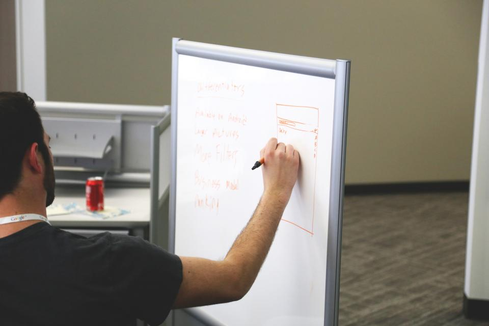 whiteboard, planning, marker, business, guy, man, office