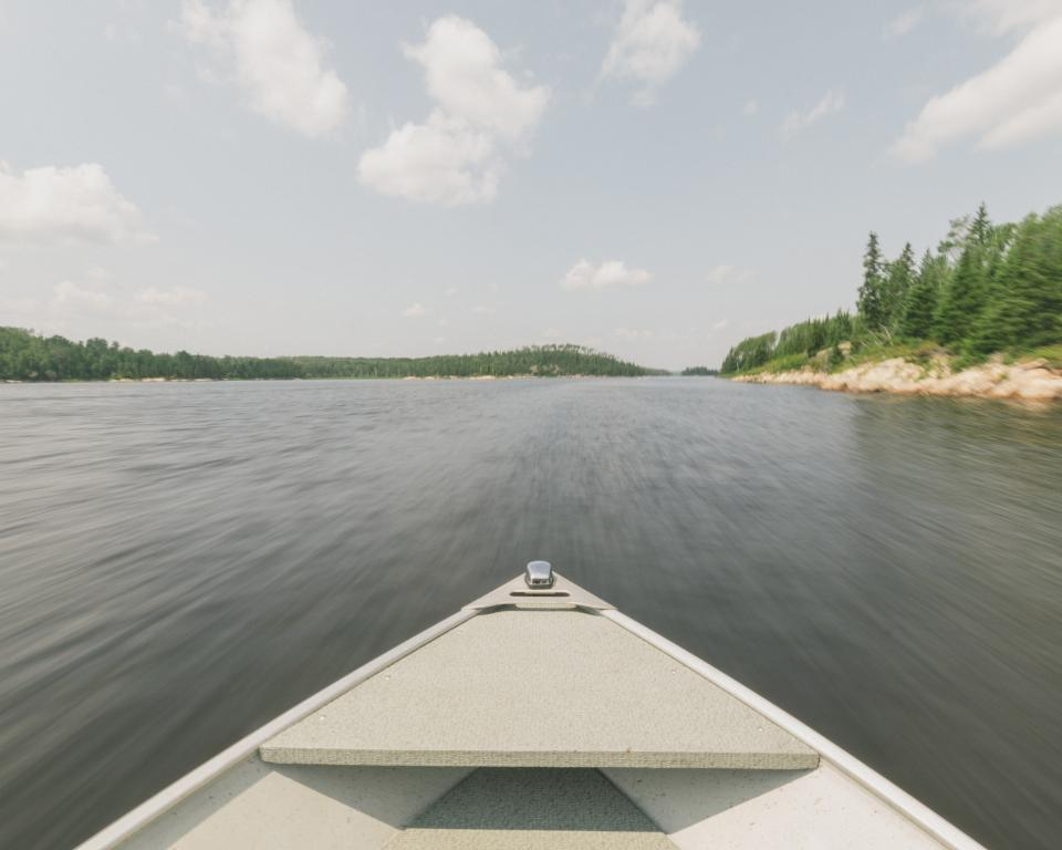 boat, canoe, lake, river, water, landscape, nature, outdoors, adventure, sky, clouds