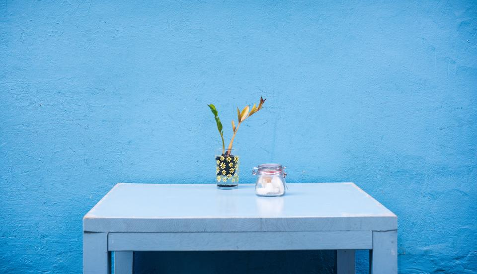 flower, vase, glass, jar, table, blue, decor, objects