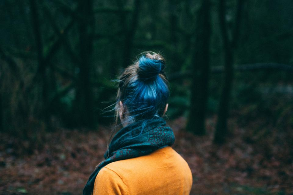 girl, woman, people, hair, scarf, outdoors, nature, trees, forest, woods