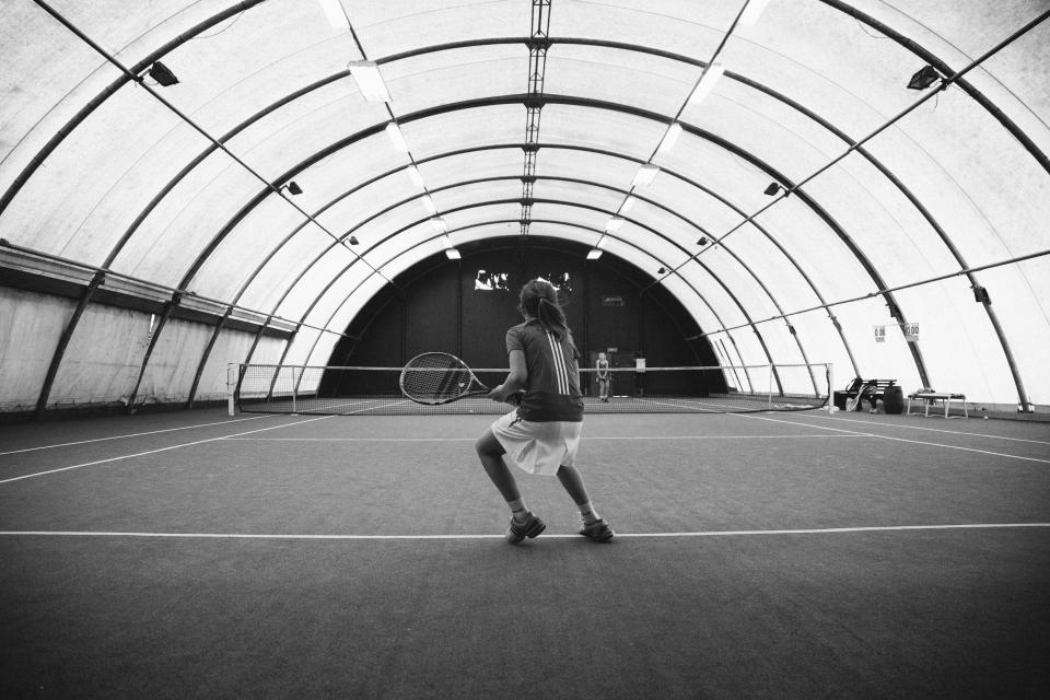 tennis, court, dome, sports, athletes, fitness, racket, black and white