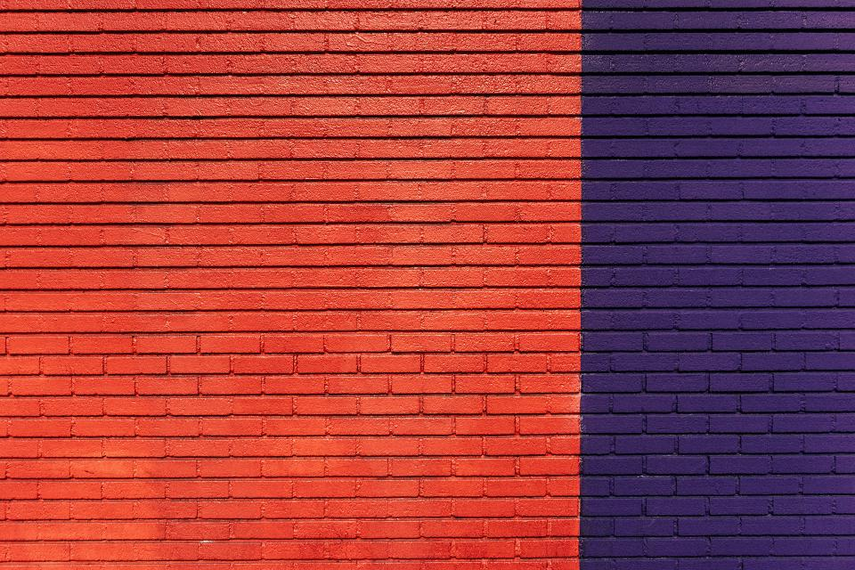 bricks, wall, orange, purple