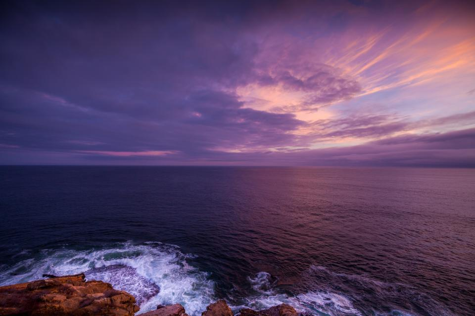 ocean, sea, water, horizon, landscape, shore, coast, sunset, dusk, sky, clouts, purple