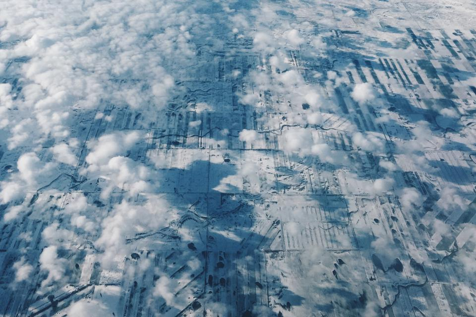 above the clouds, aerial, view, fields
