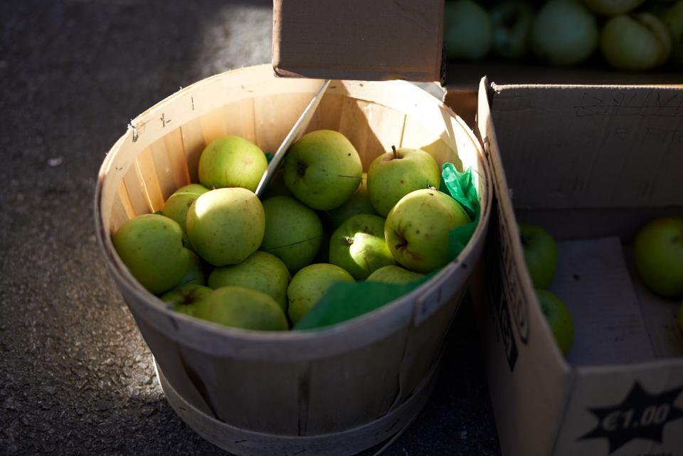 apples, fruits, basket, farm, healthy, food