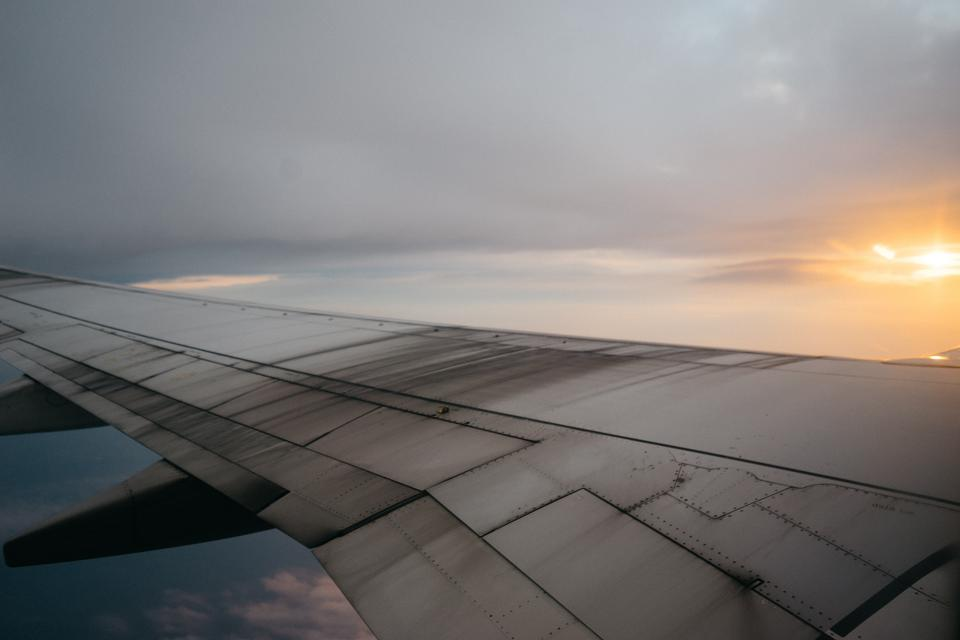 airplane, wing, sky, travel, transportation, flying, sunset, clouds