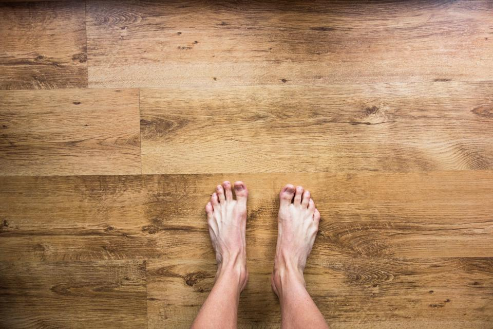 barefoot, bare, feet, floor, hardwood