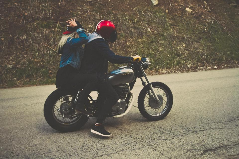 motorcycle, motorbike, road, street, riding, helmet, girl, guy, people, transportation