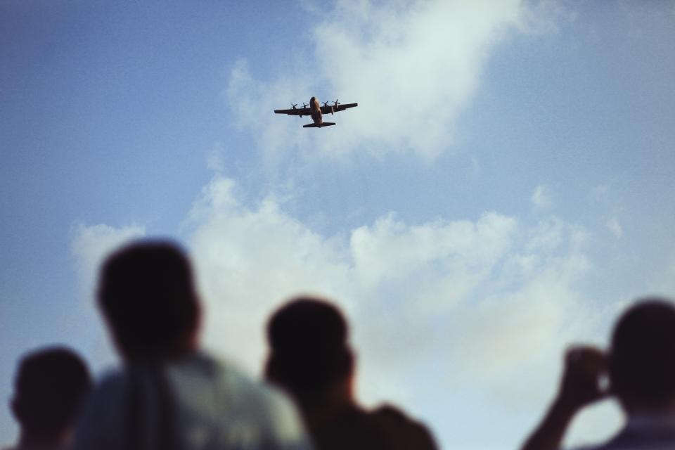 airplane, flying, travel, transportation, sky, clouds, people, shadows, silhouette