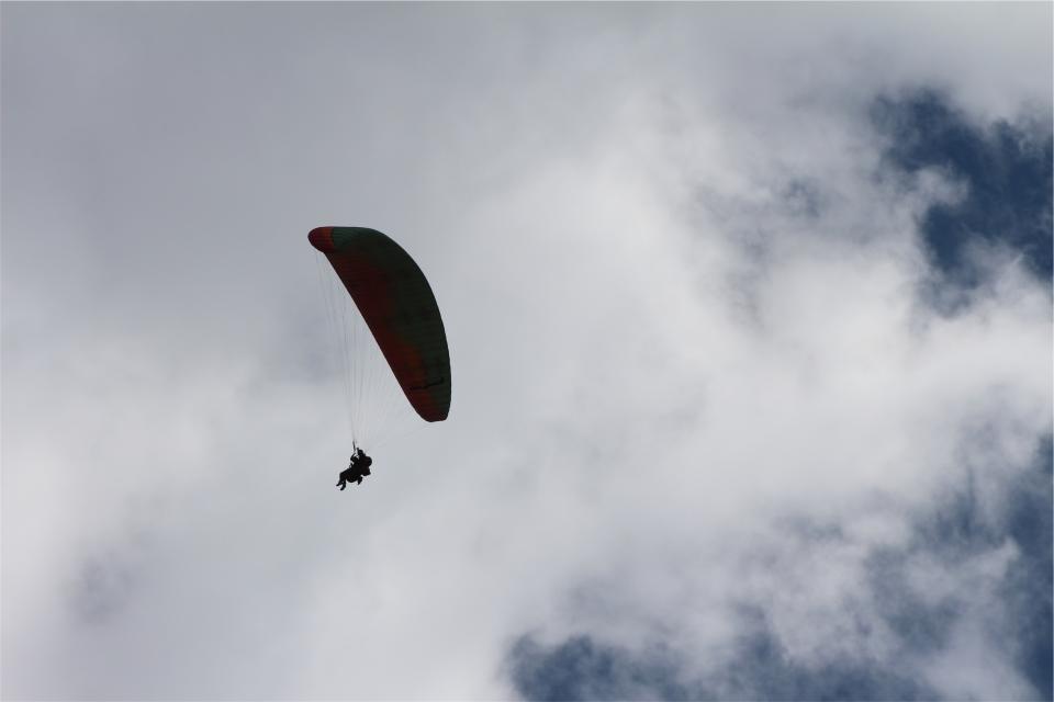 paragliding, parachute, sky, clouds
