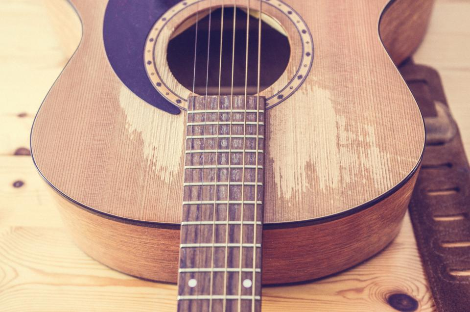 acoustic, guitar, music, instrument, strings, wood