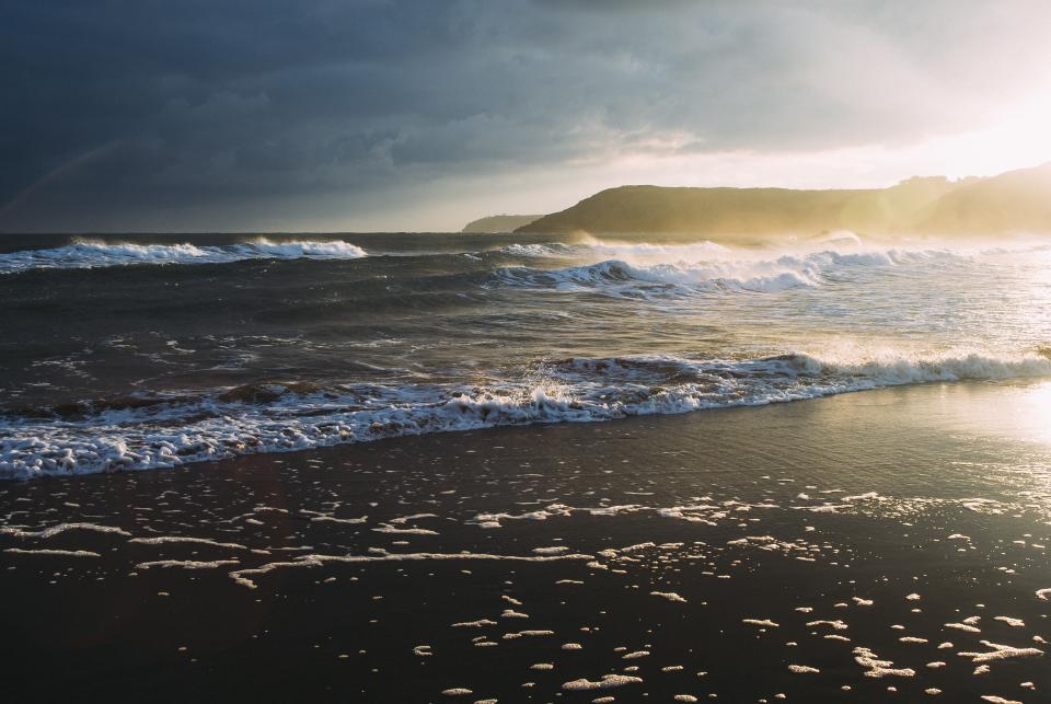 sunset, beach, ocean, sea, waves, water, shore
