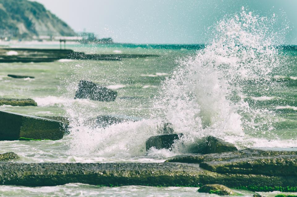 nature, water, ocean, sea, splash, rocks, coast, shore, sky, mountains, landscape