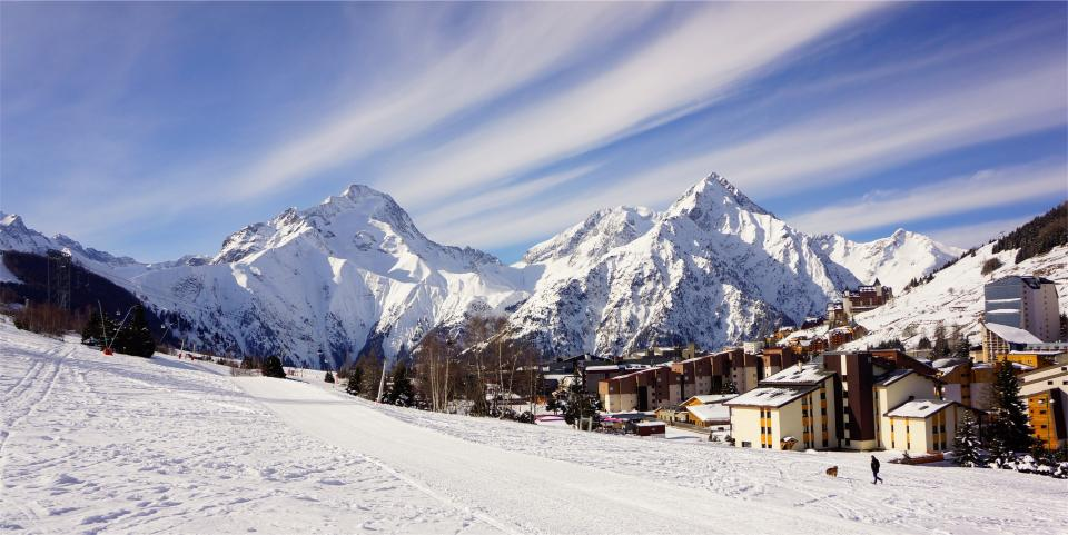 winter, village, mountains, town, snow, cold, sky, peaks