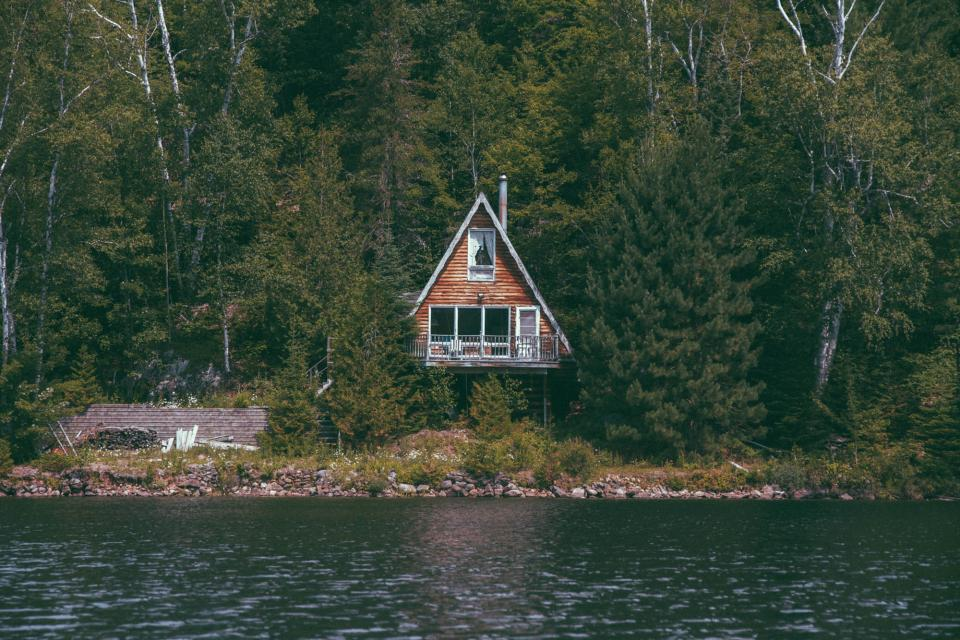 cottage, house, architecture, lake, water, rocks, trees, forest, woods, outdoors, nature