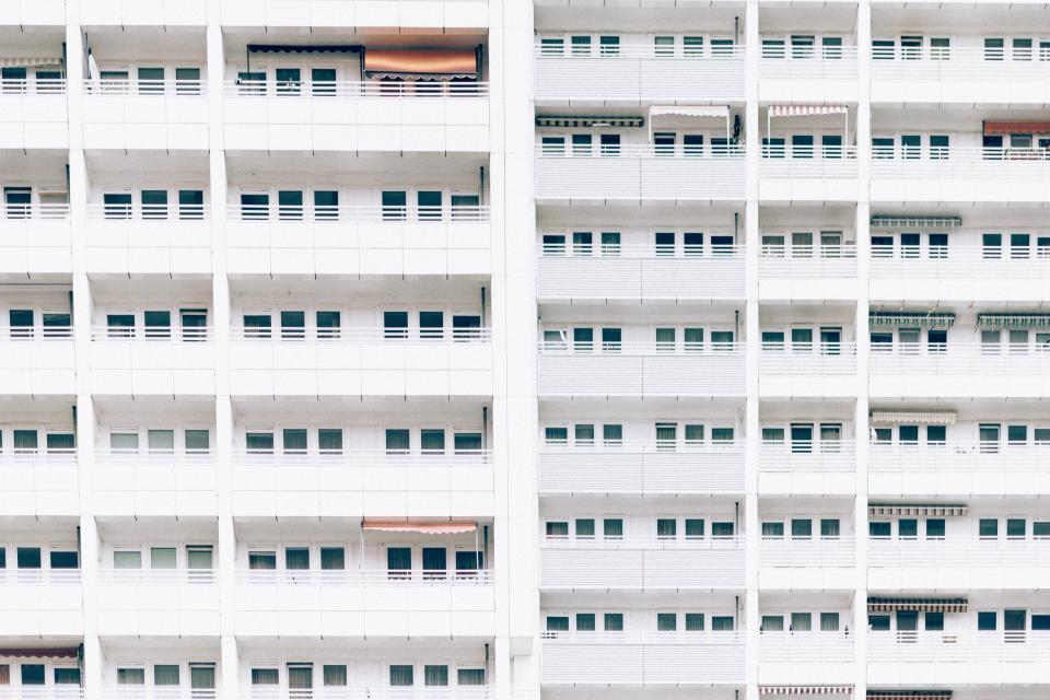architecture, buildings, city, landscape, windows, balconies, urban, metro, downtown, high rise, patterns, minimalist, white