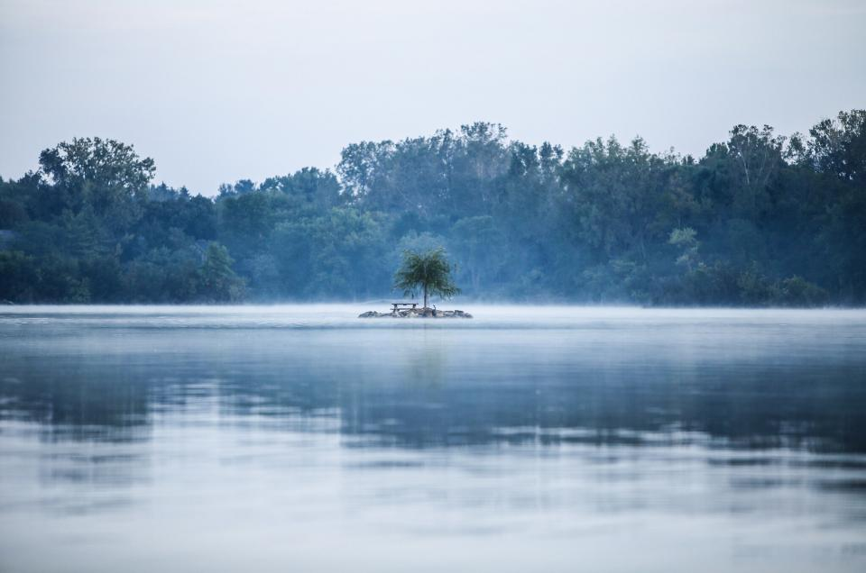 lake, water, reflection, island, nature, outdoors, trees, forest, woods