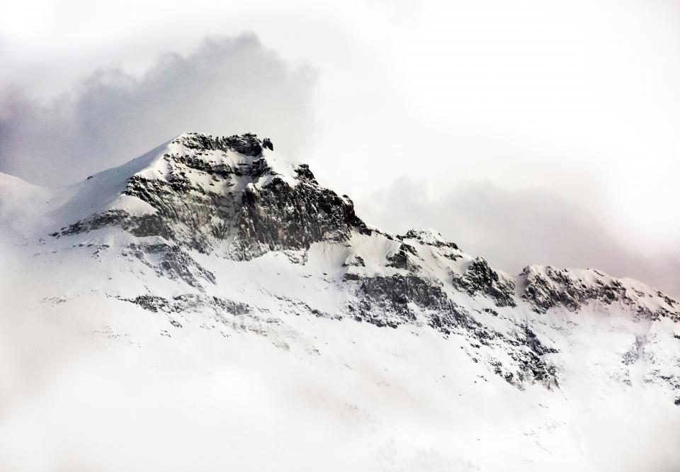 mountains, cliff, rocks, snow, cold, winter, clouds, cloudy, nature