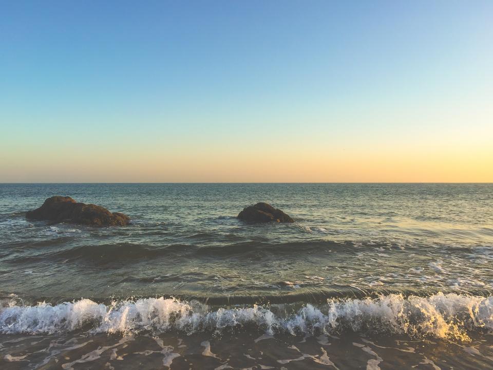 sunset, beach, ocean, sea, water, waves, rocks, sky, horizon, shore
