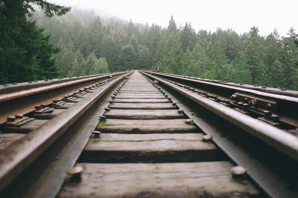 train tracks, railroad, railway, transportation, trees, rural