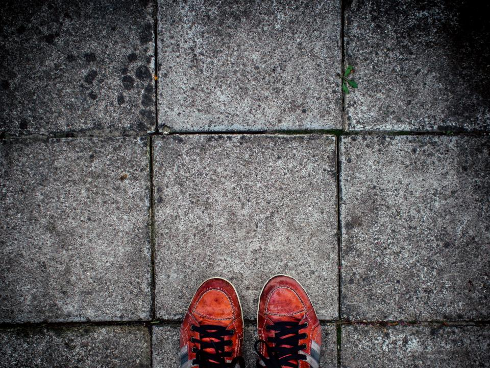 pavement, ground, red, shoes, lifestyle