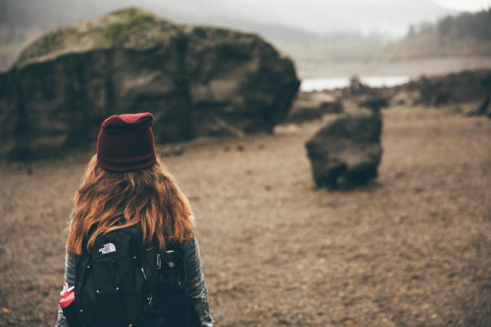 girl, woman, long hair, hat, backpack, hiking, trekking, outdoors, adventure, nature, people