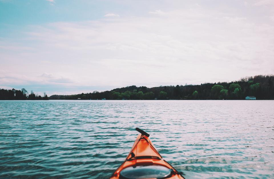lake, water, kayak, outdoors, nature, sky