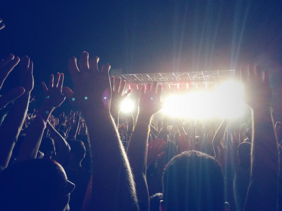 people, crowd, hands, concert, show, stage, fun, entertainment, party, spotlights, dark, evening, dark