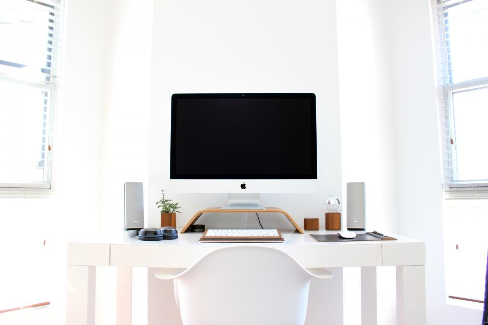 office, work, workspace, business, desk, table, gadgets, mac, keyboard, mouse, speakers, plants, paperweight, chairs, windows, venetian, blinds, light, white