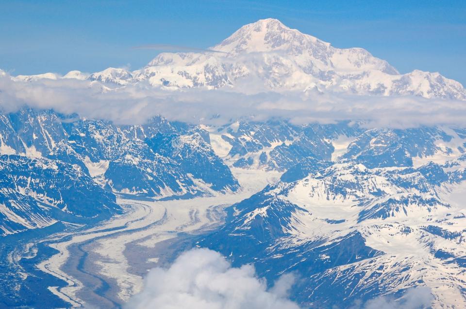 mountains, peaks, summit, cliffs, landscape, nature, snow, cold, winter, blue, sky, clouds